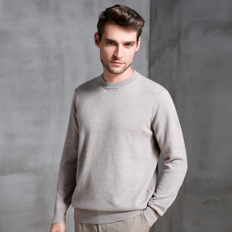 LHZSYY Autumn Winter New Men 39 s 100 Cashmere sweater Casual Round Neck High grade Knitted Pullover Solid color Wild Warm Sweater in Pullovers from Men 39 s Clothing