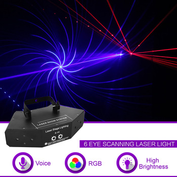 Sharelife 6 Eyes RGB Full Color DMX Gobos Mix Beam Network Laser Scanning Light Home Gig Party DJ Stage Lighting Sound Auto B-X6