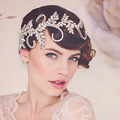 Vintage Handmade clear crystal crown bridal hair accessories headband women tiara wedding hair jewelry headpiece