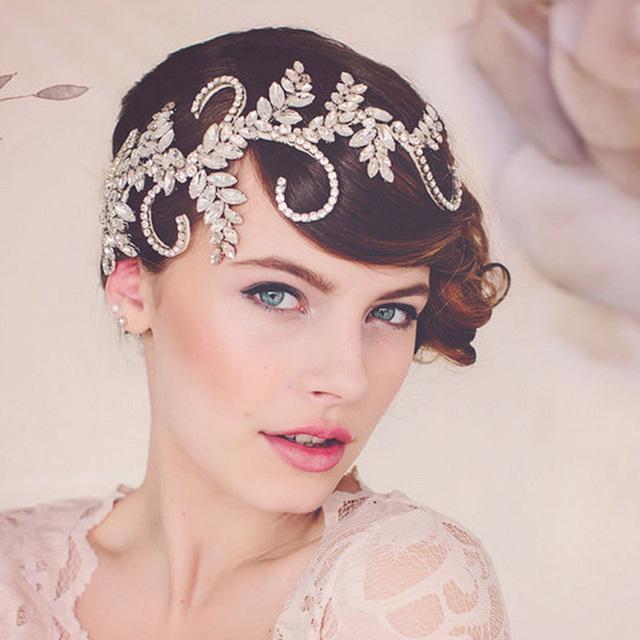 Vintage Handmade crystal clear crown nupcial acessórios de cabelo mulheres headband do casamento tiara de jóias cabelo headpiece