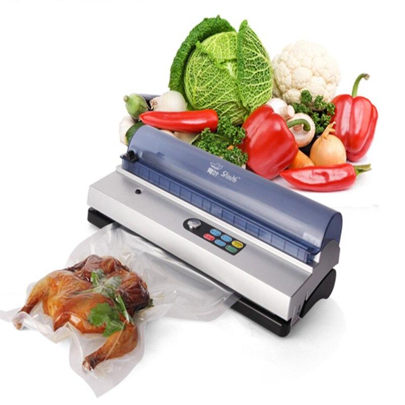 -Automatisation complète petit commercial vide alimentaire scellant machine d'emballage sous vide famille dépenses vide machine sous vide scellant