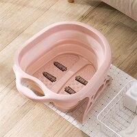 Foldable Footbath plain foaming massage bucket Plastic foot bath basin large heightening footbath fording barrel Blue Pink