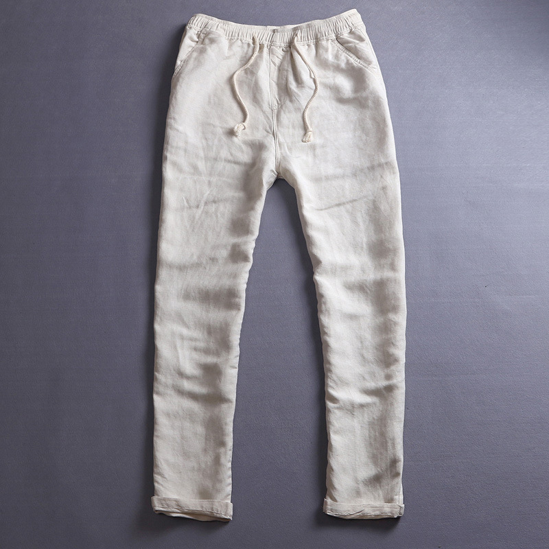 abc678139153 WMSHUO 2017 Men s Summer Casual Pants Natural Cotton Linen Trousers White  Linen Elastic Waist Straight Pants Y026-in Casual Pants from Men s Clothing  on ...