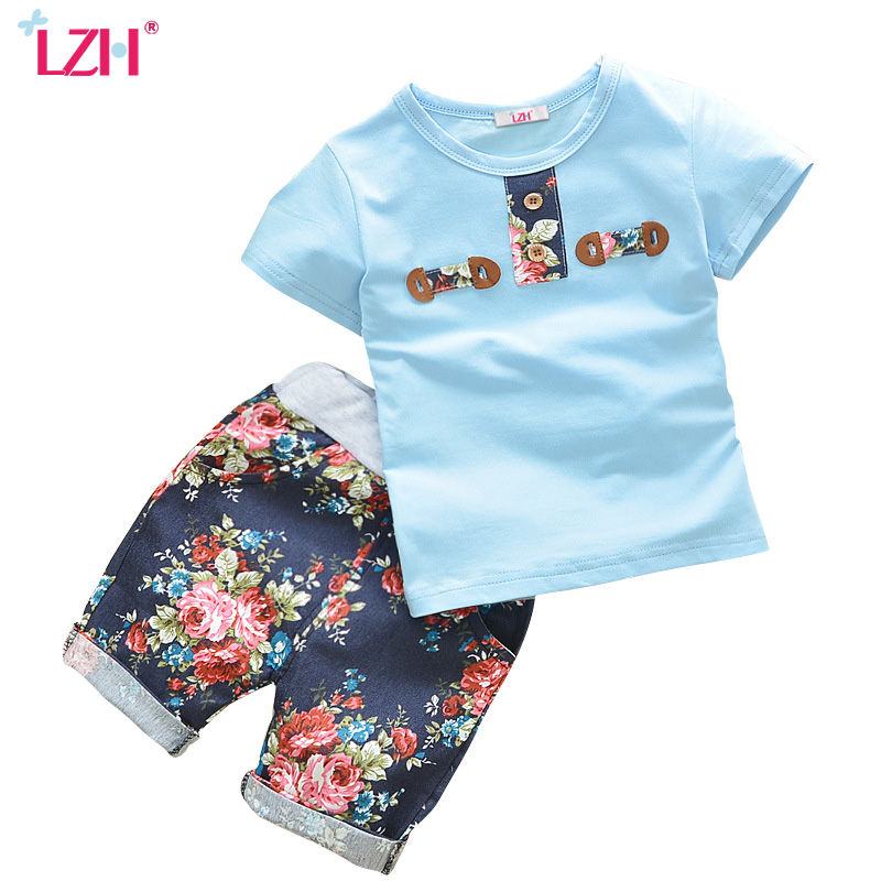 LZH 2017 Baby Boys Summer Clothes Floral Print T-Shirt + Short 2pcs Toddler Boys Clothes Sets Kids Sport Suit Children Clothing dragon night fury toothless 4 10y children kids boys summer clothes sets boys t shirt shorts sport suit baby boy clothing