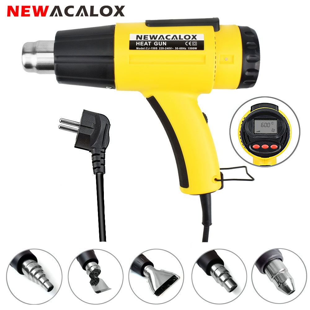 NEWACALOX EU 220V 1500W LCD Display Heat Gun Electric Thermoregulator Hot Air Gun Shrink Wrapping Thermal Power Tool 5pcs Nozzle