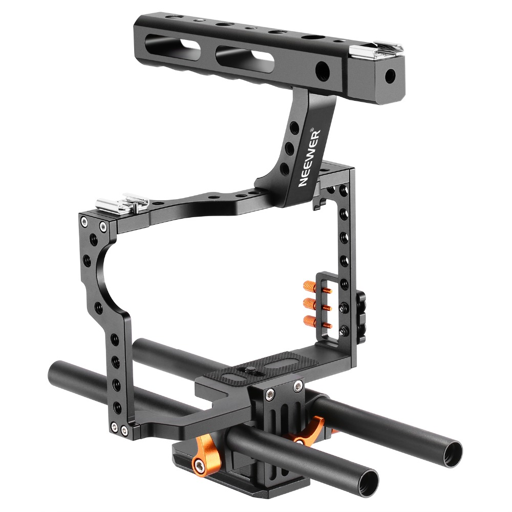 Neewer Film Movie Making Rig Camera Video Cage Kit With Handle Grip for Sony A7 A7S A7SII A7R A7RII A7II A6000 A6300 A6500 viltrox 15mm rod rig dslr video cage kit stabilizer handle grip follow focus for sony a7ii a7r a7s a6300 panasonic gh4 m5