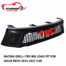 CITYCARAUTO LED MATTE BLACK CAR MASK COVER FRONT RACING GRILLE GRILLS RAPTOR FRONT GRILL COVER FIT FOR TOYOTA HILUX REVO 2015-17