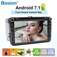 2Din GPS Autoradio 1024*600 Quad Core Android 7.1 Car DVD GPS Navigation For VW GOLF 5 polo Bora JETTA MK4 B6 Tiguan SKODA