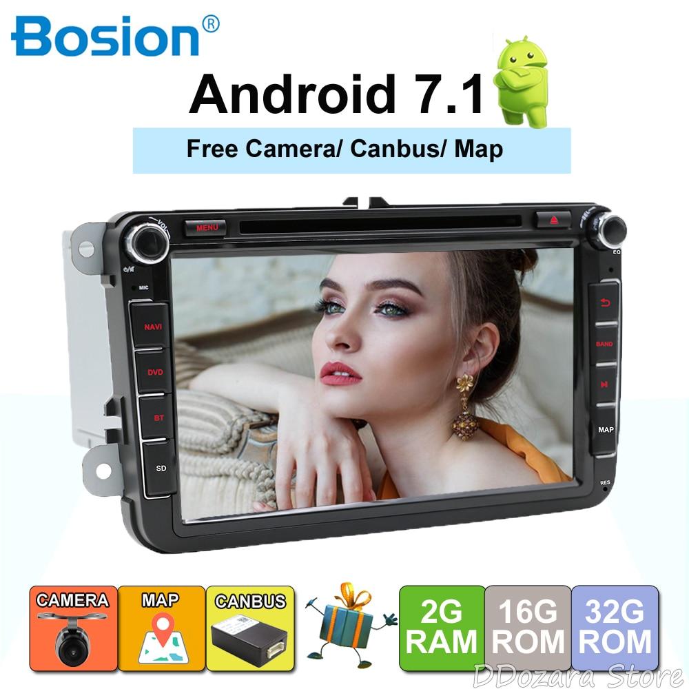 2Din GPS Autoradio 1024*600 Quad Core Android 7.1 Voiture DVD GPS Navigation Pour VW GOLF 5 polo Bora JETTA MK4 B6 Tiguan SKODA