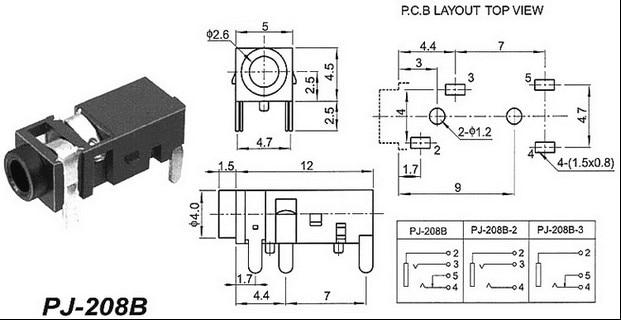 100PCS 25MM headphone jack audio connector 4 pin DIP