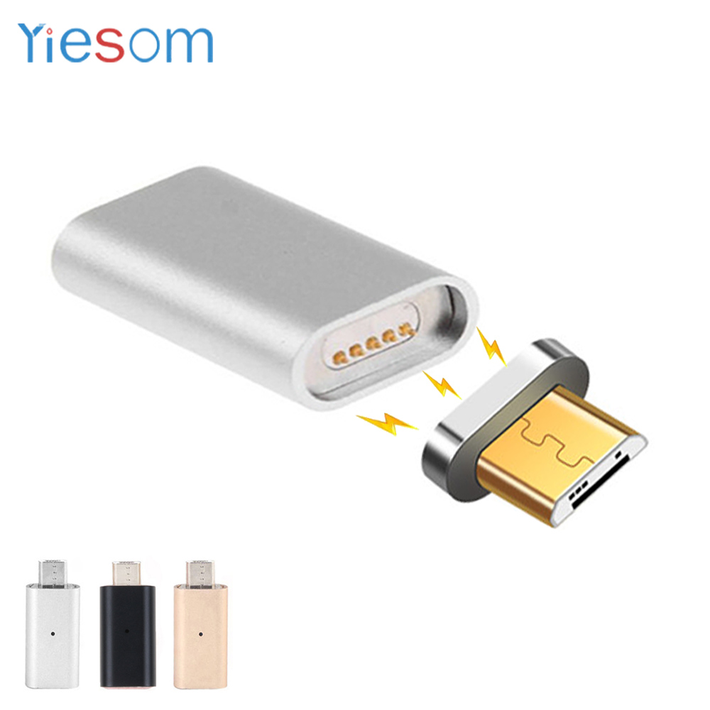 YIESOM For Android Charger Micro USB Charging Cable Metal Plug Magnetic Adapter Data Charger Convert For Samsung S6 S7 Edge HTC