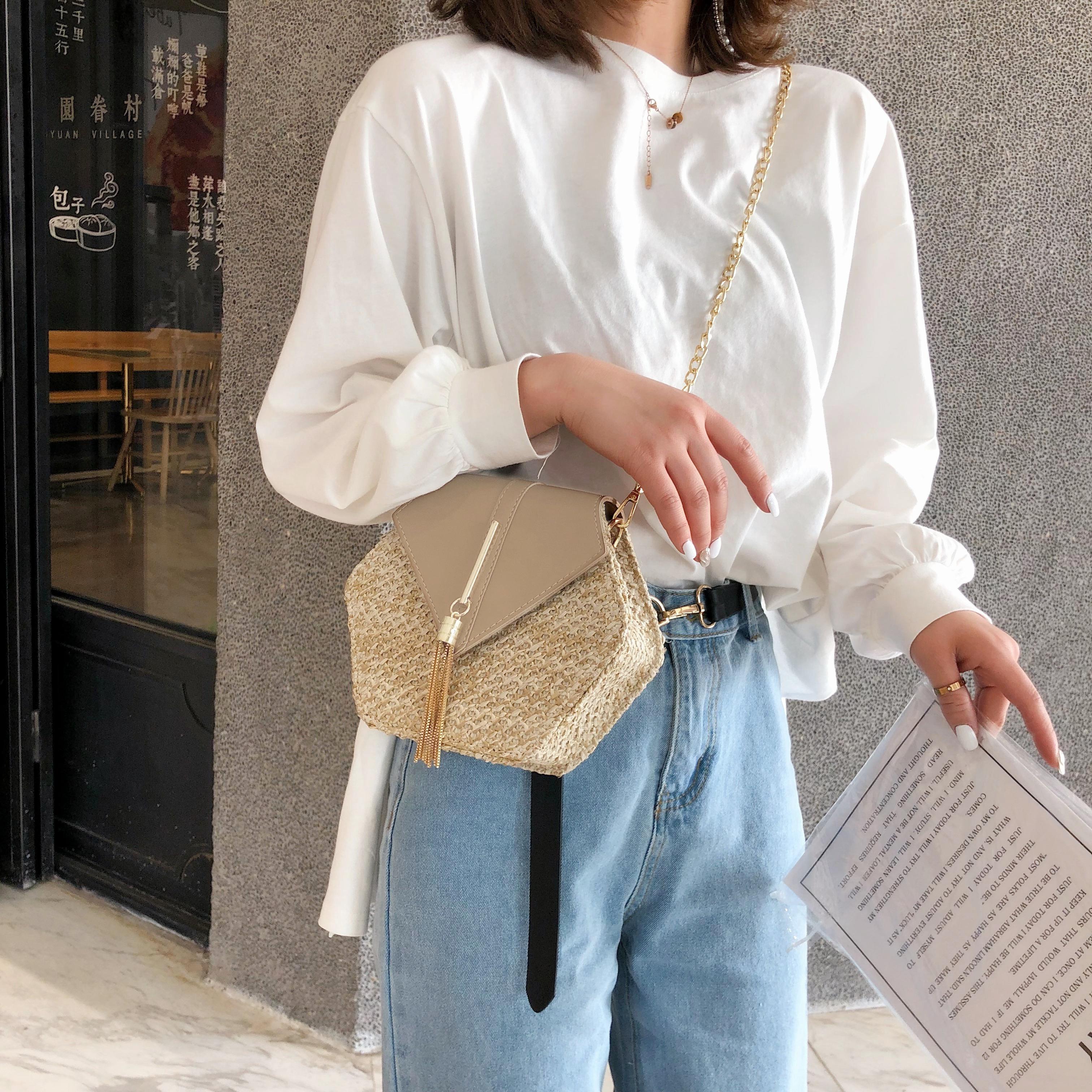 Hexagon Mulit Style Straw+leather Handbag Women Summer Rattan Bag Handmade Woven Beach Circle Bohemia Shoulder Bag New Fashion 4