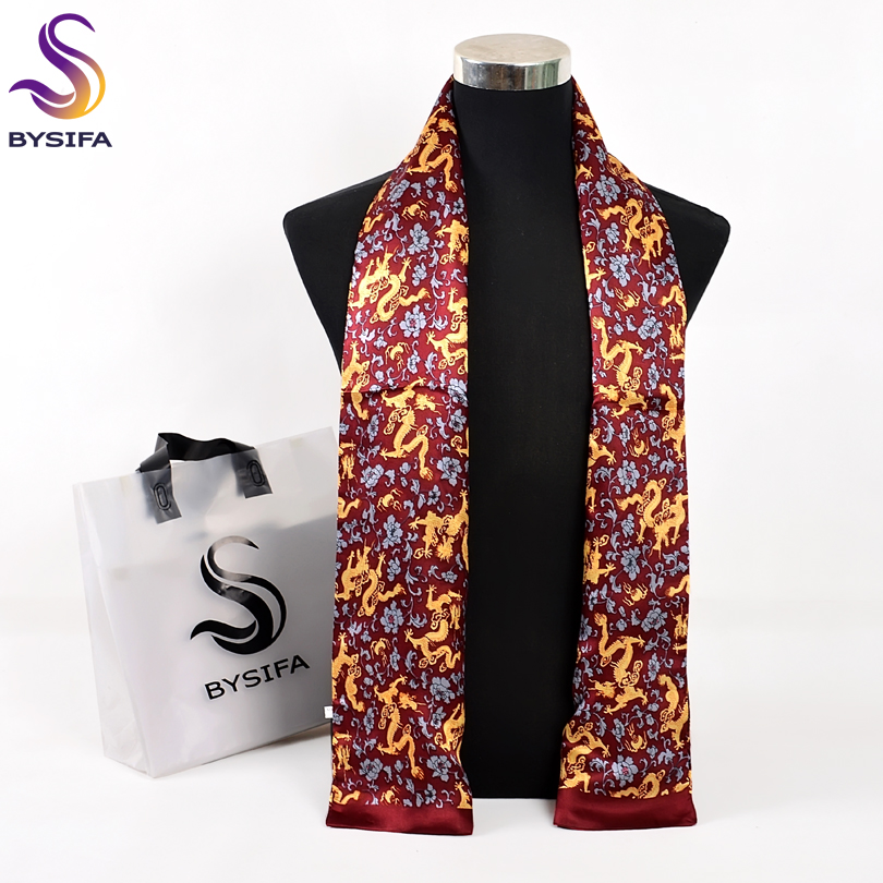 Satin Silk Gold BYSIFA Male Fashion 100%Pure Fall Spring Long Scarves Scarf Men