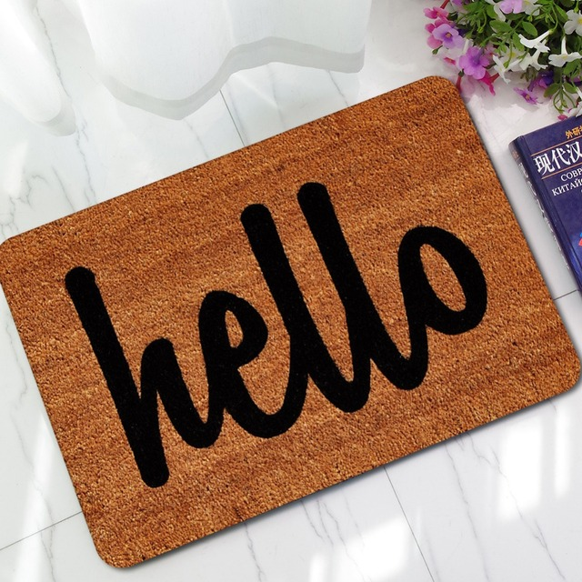 Custome Hello Letter Thin Rubber Anti Slip Doormats Door Entry Front Mats Outdoor Entrance Indoor Welcome Home Funny