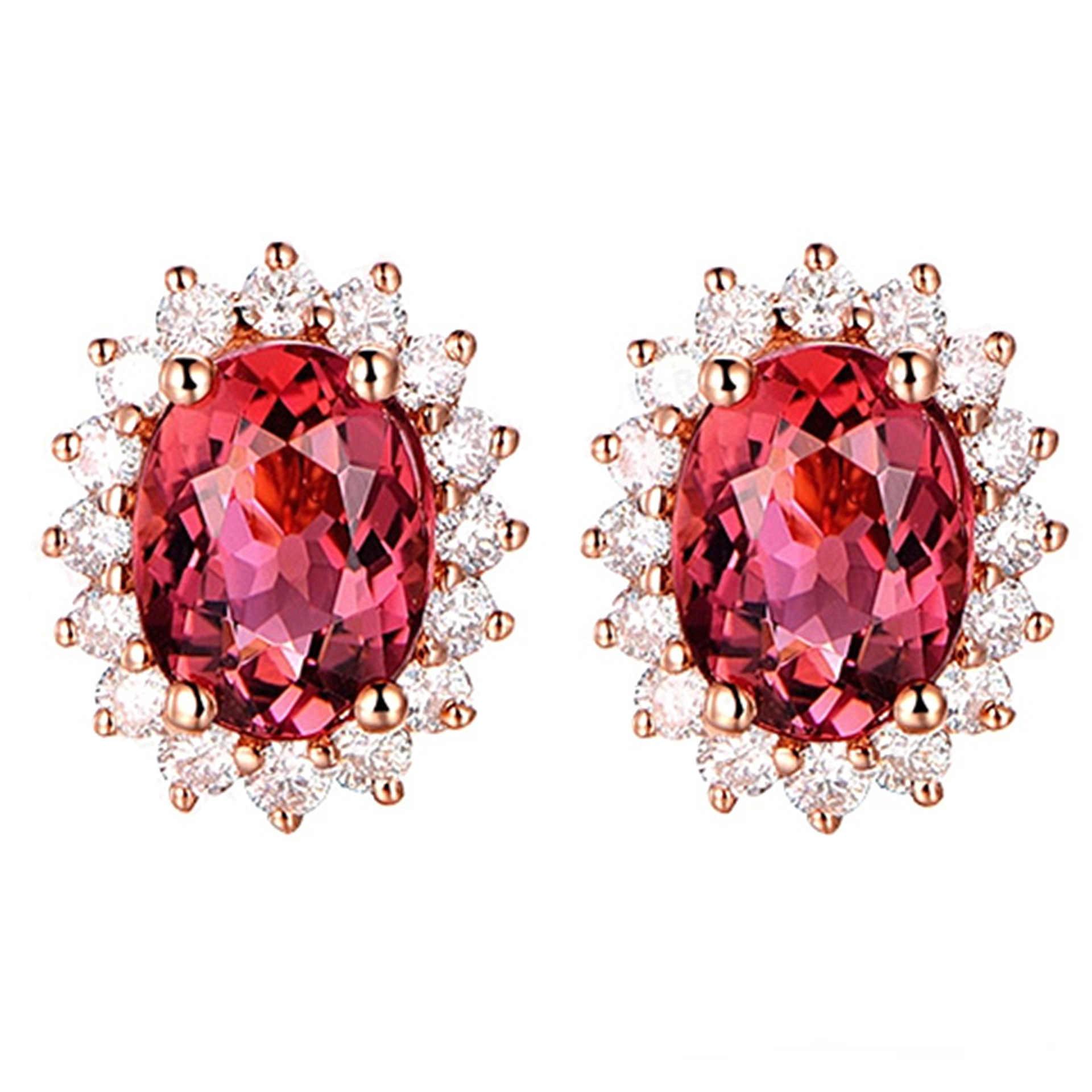 ダイアナケイト新ファッション銅女性ジルコンクリスタルイヤリング英国王室の女性ジュエリーローズゴールド赤宝石ジルコンのスタッドピアス