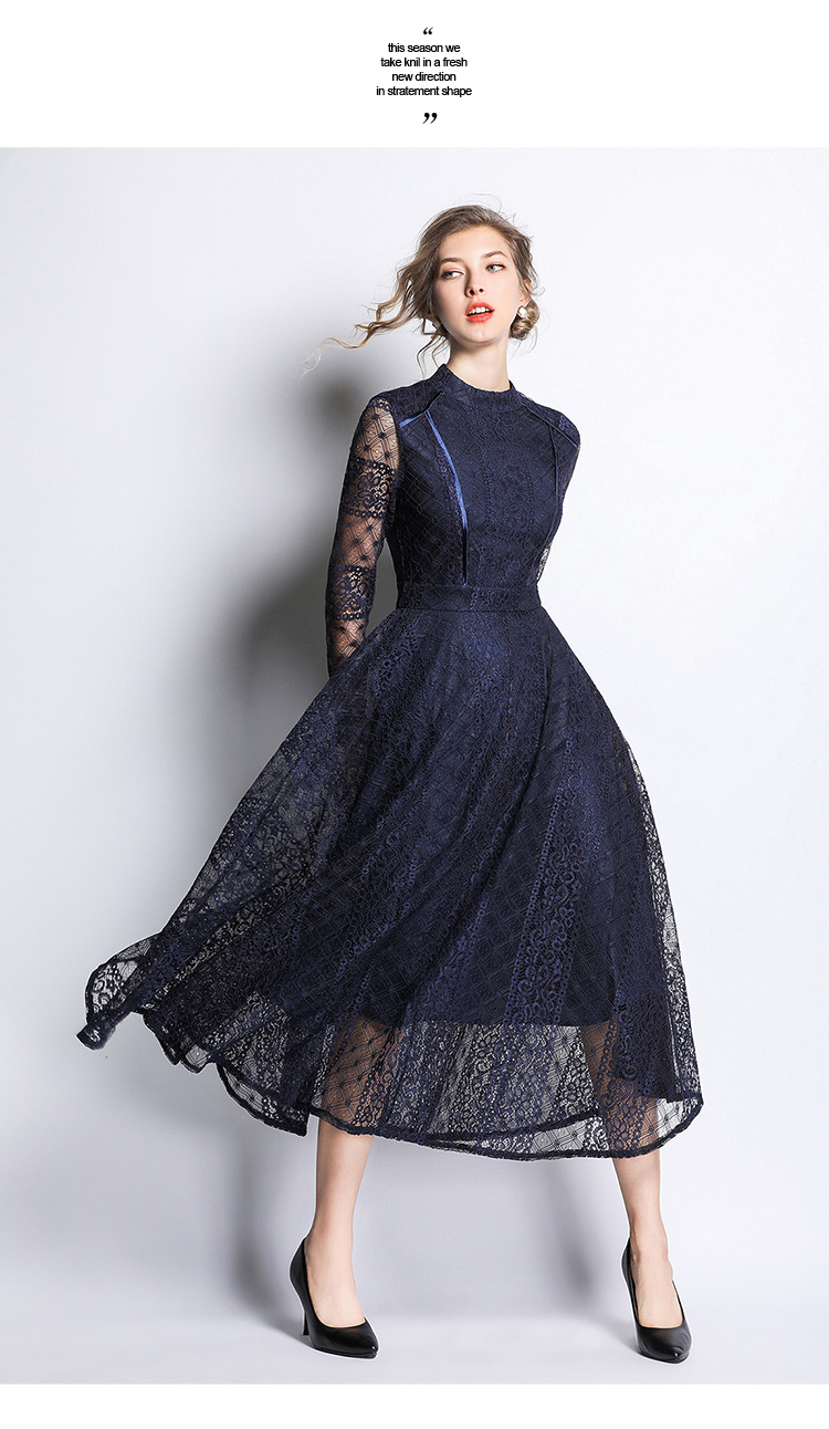 Dark Blue Lace Long Sleeve Retro Dress 5