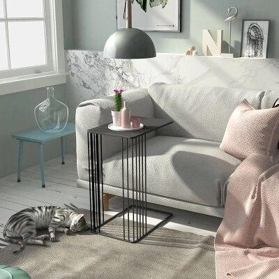 Nordique u-type métal fleur moderne salon canapé créatif en fer forgé côté table basse - 2