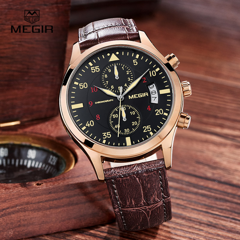 MEGIR new fashion leather stop watch for man 2015 casual quartz watches men calendar wrist watches for males free shipping 2021 megir fashion casual stop watches for men luminous running brand watch for man leather quartz watch male 2007 free shipping