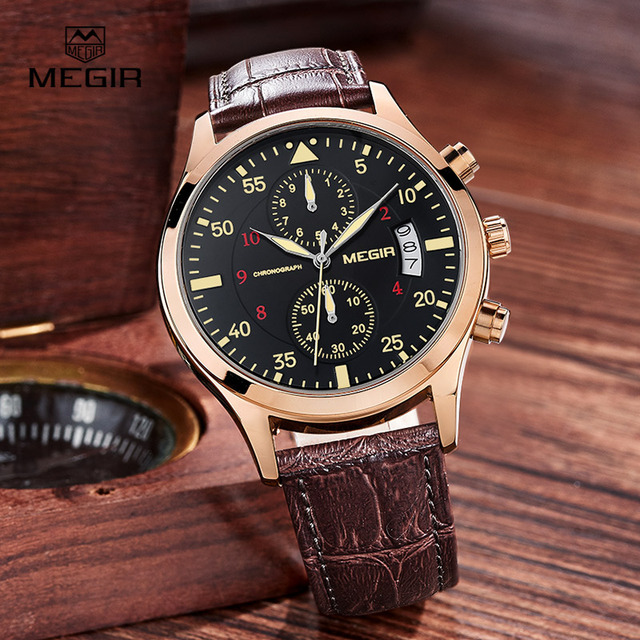 MEGIR new fashion leather stop watch for man 2015 casual quartz watches men calendar wrist watches for males free shipping 2021