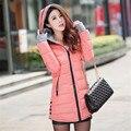 Women's Jacket Winter 2016 New Medium-Long Down Cotton Blue Parka Plus Size Coat Slim Ladies Casual Pink Clothing Hot Sale YY144