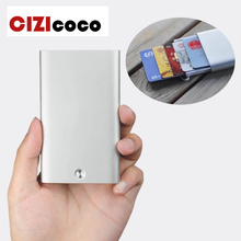 Cizicoco 2019 business card holder metal stainless steel creative office aluminum pack credit rfid wallet