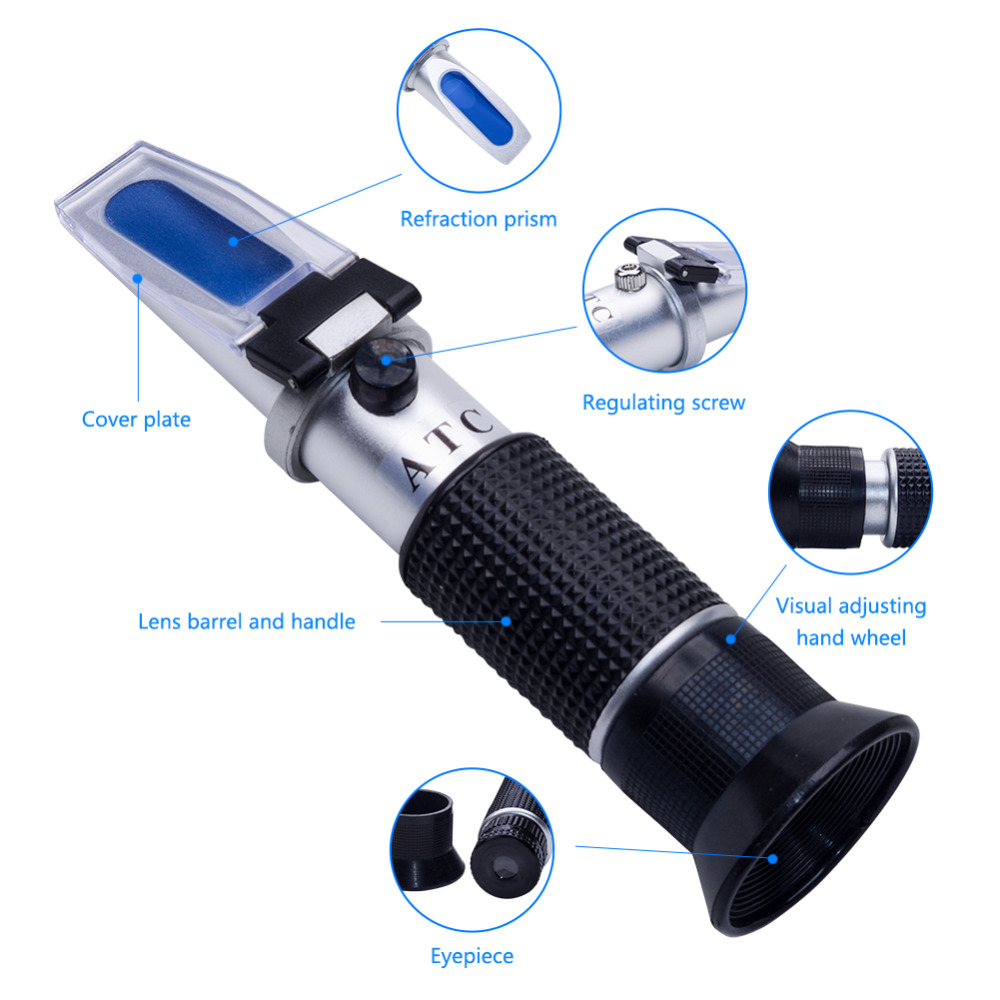 Handheld Tester Tool 4 in 1 Refractometer W ATC Battery with Case for  Engine Oil Glycol Antifreeze Freezing Point Car