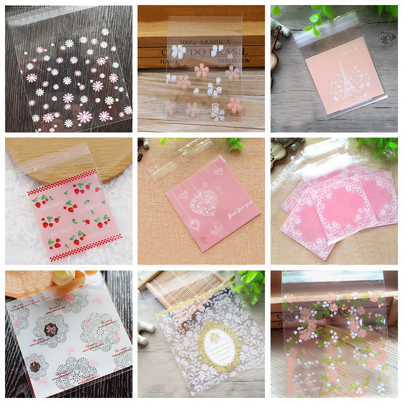 50Pcs 7*7cm Plastic Bags Cookie Candy Bag Self-Adhesive For Wedding Birthday Party Gift Bag Biscuit Baking Packaging Bag