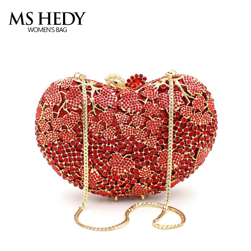 Heart Shape Red Crystal Rhinestone Full Of Evening Bag Women Clutch Fashion Shoulder Chain Metal Purse Hot New Party Hand Bags