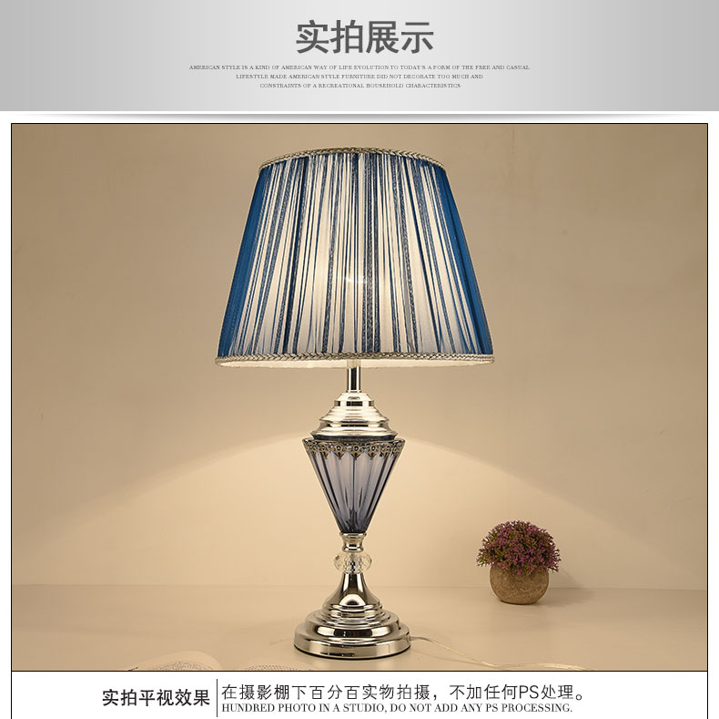 US $228.0 |modern table lamp to warm the bedroom bedside lamp Creative Blue  Glass bedroom living room decorative table lamp ZA990-in LED Table Lamps ...