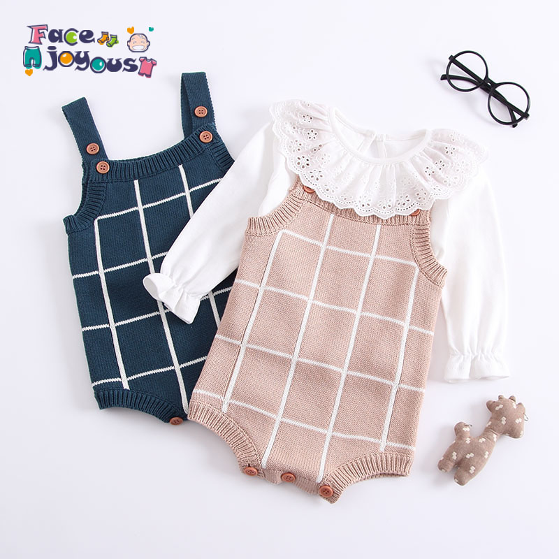 Baby Knitted   Romper   Cotton Woolen Baby Girls Boys Clothes Newborn Infant Jumpsuit Plaid Sleeveless Toddler Overalls Outfits