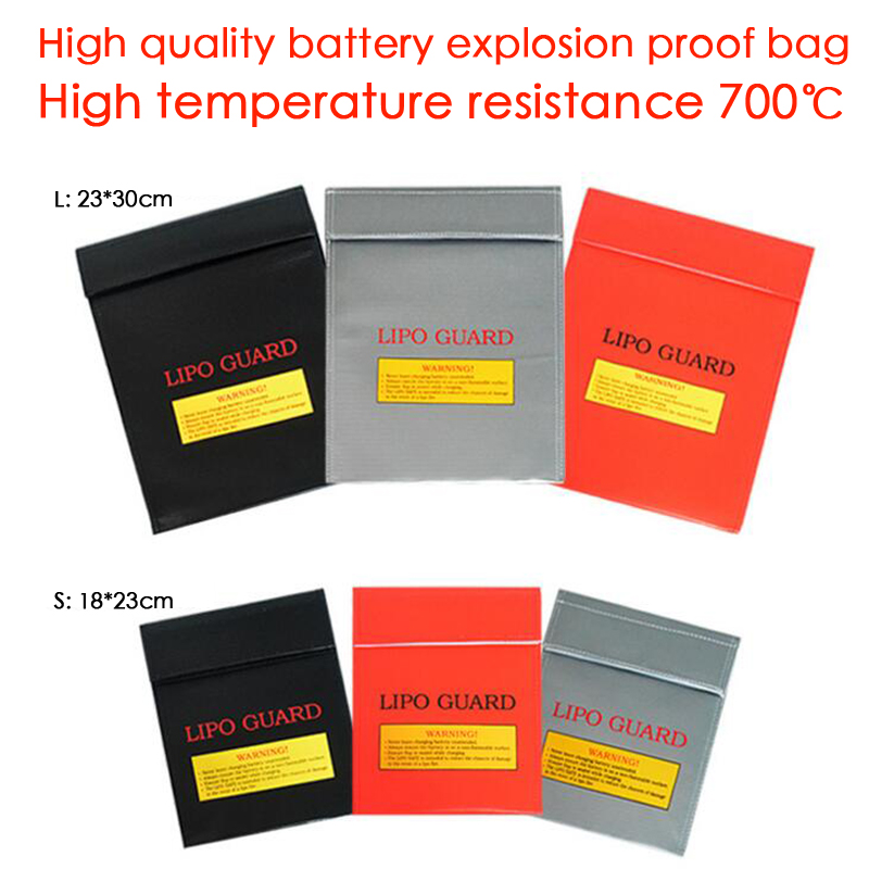 LiPo Battery Safety lithium battery protection explosion-proof Safe Guard Charge Sack L 23*30 cm S 18*23 cm free shipping explosion proof lithium battery bag case 220 180 mm