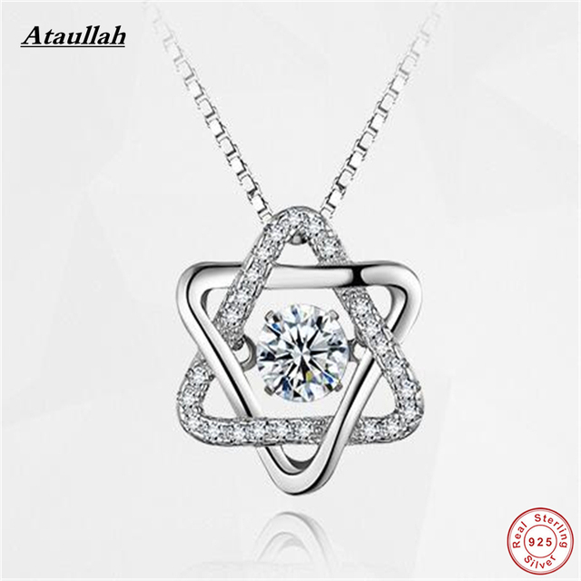 Ataullah 925 Sterling Silver Hexagonal Star Women Pendants Necklaces & Pendants Silver 925 Jewelry Brand SWN003-1