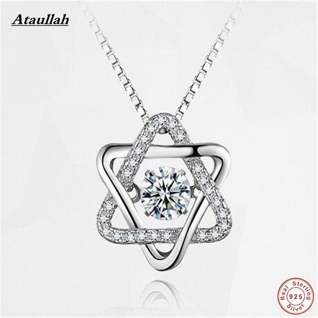 Ataullah Hexagonal Estrella de Plata de ley 925 Mujeres Colgantes de Los Collares y Colgantes de Plata 925 Joyería Marca SWN003-1