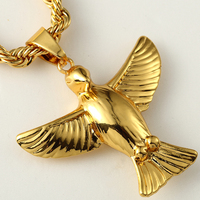 Mens Jewlery Iced Out Hip Hop Mens Gold Tone Bling Peace Dove Pendant Fashion Rope Chain