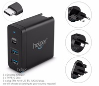 USB-C Charger Power Delivery QC 3.0 Type-C PD 3 Port Fast Charger for NEW Macbook pro 12 13.3 inch samsung notebook 9