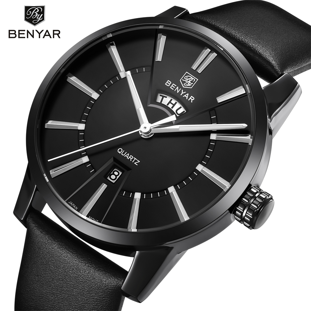 BENYAR Mens Watches Top Brand Luxury Fashion Watch Men Double calendar Leather Quartz-watch Waterproof Male Clock Relogio