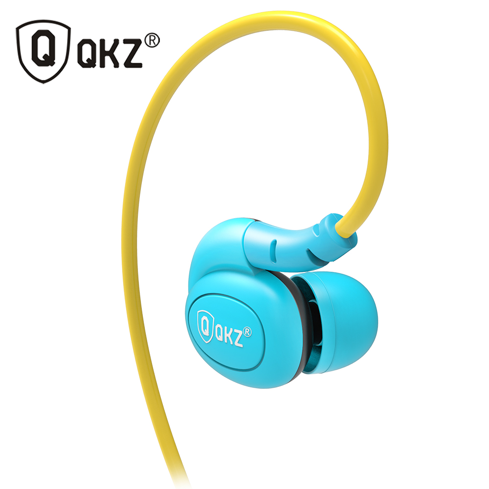 QKZ DM100 Sports Earphones Running With Memory Wire Waterproof IPX5 With Mic In-ear Earhook Music Headset Mobile Stereo Bass ipipoo ip dc2hi in ear earphones w replaceable wire mic next volume control champagne
