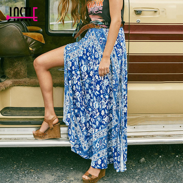 Jastie Lolita Style Split Skirt Blue Ethnic Floral Print Maxi Skirt 2017  Women Summer Skirts Beach Casual Female Faldas Jupe 2b3f736a35f6