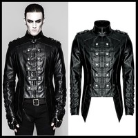 Панк рейв для мужчин тяжелый панк Рок Военная Униформа форма короткое пальто для мужчин Ежедневно модная кожаная куртка пальто