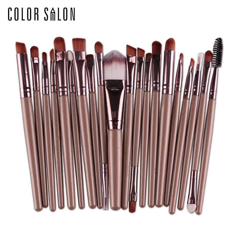 Color Salon Make up Brushes Set 20Pcs Foundation Eyebrow Brush Kit Eyeshadow Eyeliner Powder Makeup Tool Eyelash Lip Cosmetic lcbox professional 40pcs cosmetic makeup brushes set blusher eyeshadow powder foundation eyebrow lip make up brush with bag