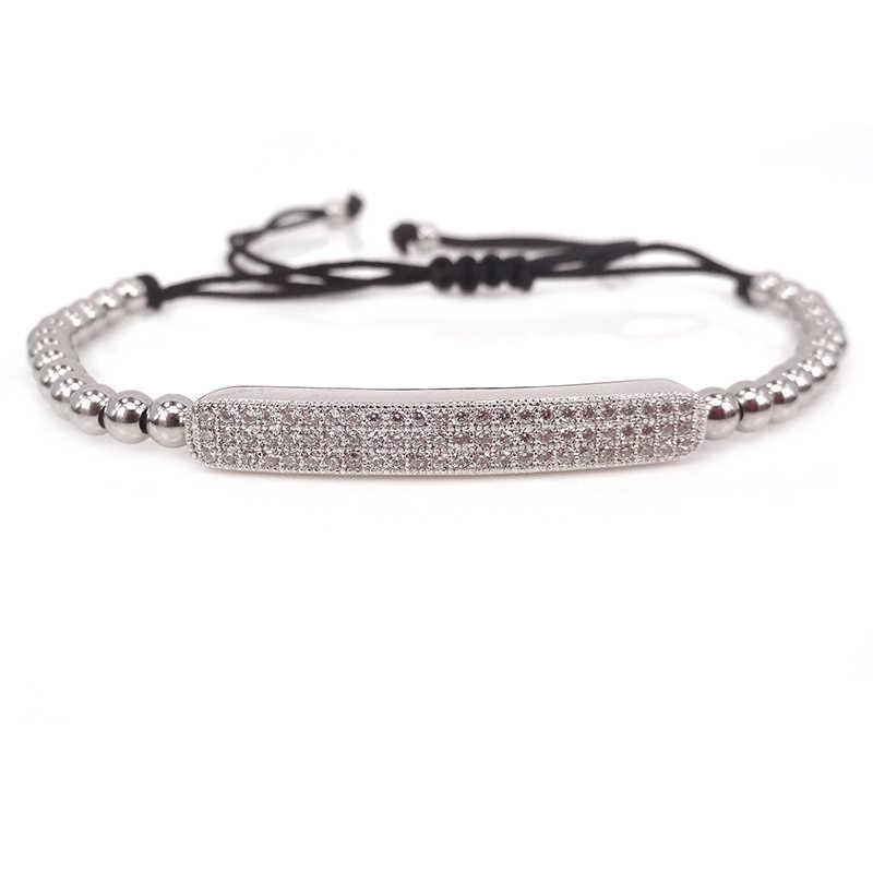 New Fashion Gun Black Long Tube & 4mm Black Round Beads Briading Macrame Bracelet For Men and Women Jewelry Wholesale