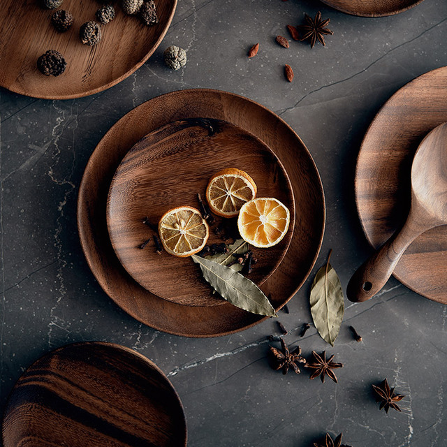 Japanese Acacia Wood Tray Solid Wood Disc Dim Sum Coffee Shop Tea Tray Fruit Plate Bread Plate Breakfast Plate 1