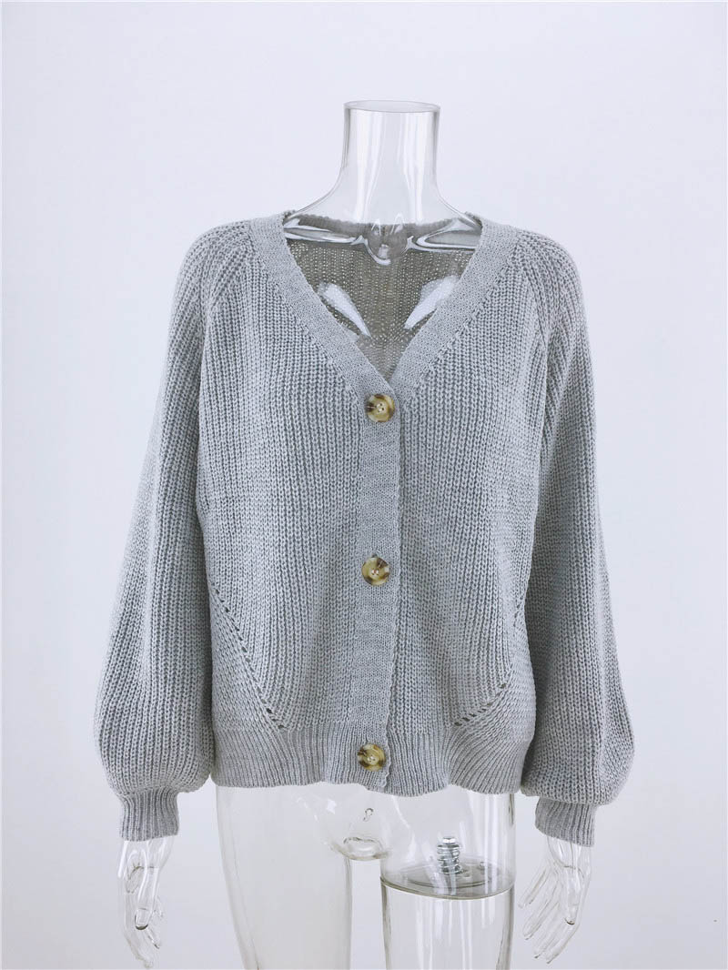 Simenual Casual Fashion Knitted Cardigans Sweater Women Solid Basic Autumn Winter Jumpers 19 Long Sleeve Button V Neck Sweater 3