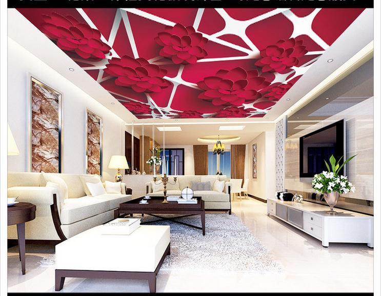 307d7f01d مخصصة 3d خلفيات 3d السقف خلفيات الجداريات ناقلات 3D الزهور ثلاثي الأبعاد  إطار السقف الجداريات الجمال الديكور