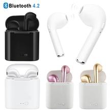 I7S TWS беспроводные Bluetooth наушники стерео вкладыши гарнитура с зарядным устройством микрофон для Iphone X XS MAX 7 P 8 P для Xiaomi air pods