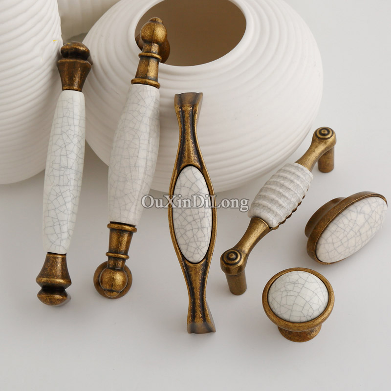 Top Designed 10PCS Furniture Handles European Ceramic Crack Drawer Wardrobe Cupboard Kitchen Cabinet Door Pulls Handles Knobs