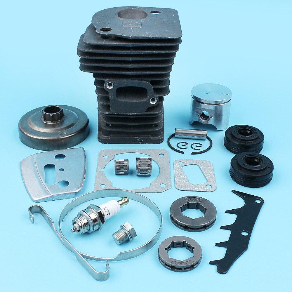 цена на 42mm Nikasil Cylinder Piston Ring Pin Oil Seal Clutch Drum Sprocket Kit For Jonsered CS 2141 2145 E Chainsaw Decompression Valve