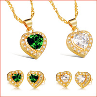 New 2014 Fashion Necklace Women Love Heart White Green AAA Cubic Zircon Pendant Necklaces For Girl