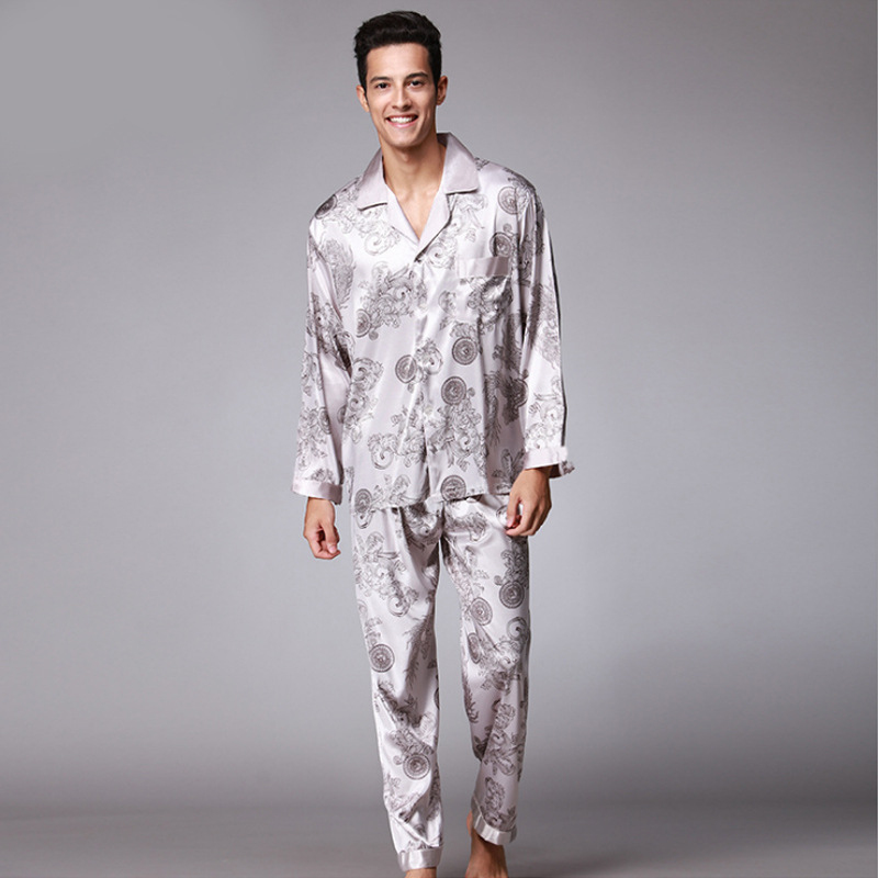 SSH004 High Quality Printed Wedding Mens Pajamas Satin Silk Nightgown Sleepwear Spring Autumn Male Full Sleeves Pants Pajama Set