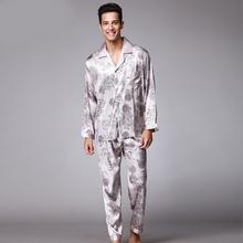 SSH004 High Quality Printed Wedding Mens Pajamas Satin Silk Nightgown Sleepwear Spring Autumn Male Full Sleeves